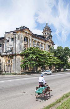 colonial building in yangon myanmar