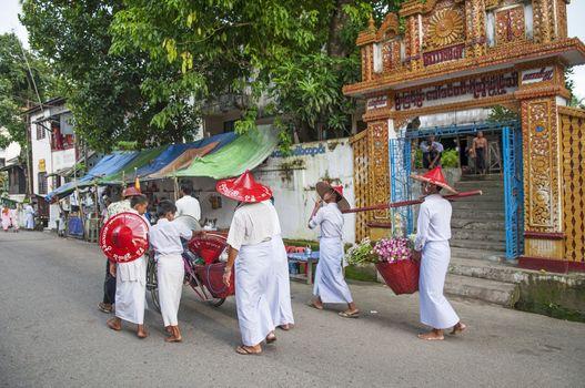 buddhist ceremony in yangon myanmar