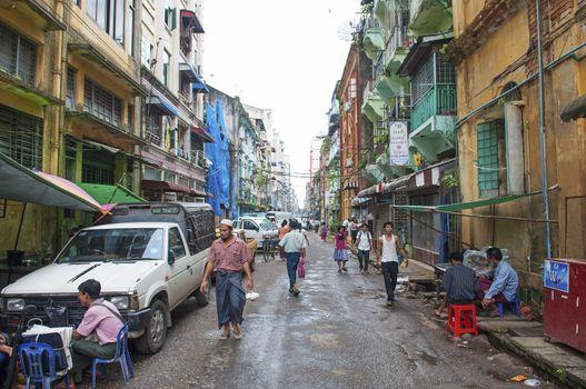 street in central yangon myanmar