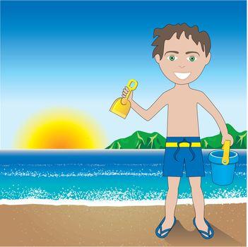 Vector Illustration of a Beach Sand Boy Background.