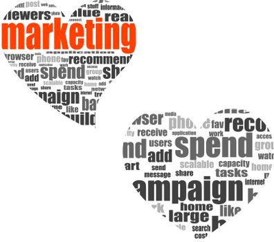 marketing. Word collage set in heart shape. Illustration with different association terms