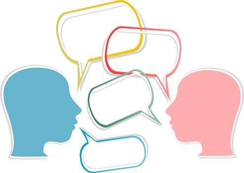 dialogue concept. human head with speech bubbles