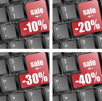 Shopping on-line, red key sale set on keyboard key