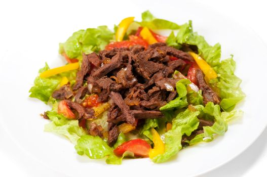 spice Mexican salad with meat on plate