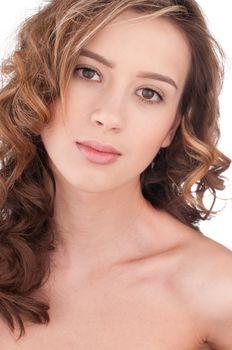 Close-up of beautiful girl with clear maekeup