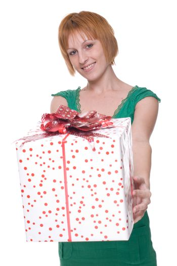 Close up portrait of girl with huge gift