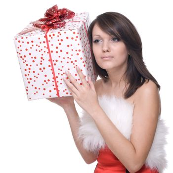 Woman in santa dress with gifts