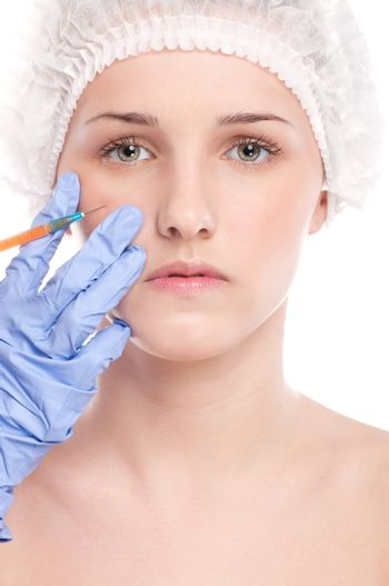 Cosmetic botox injection in face