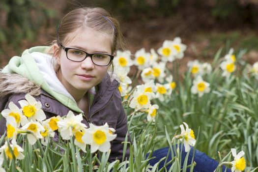 young girl in spring park