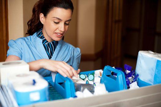 Pretty female housekeeper busy working