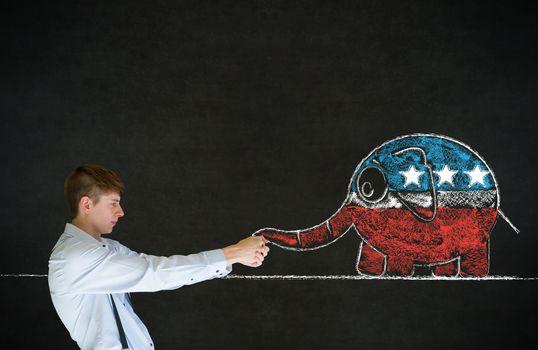 Man pulling republican democracy elephant on blackboard background