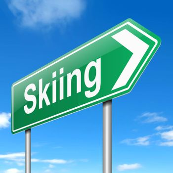 Illustration depicting a sign with a skiing concept.