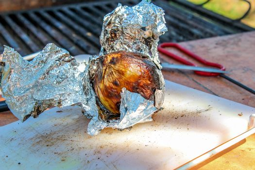 Grilling a whole onion