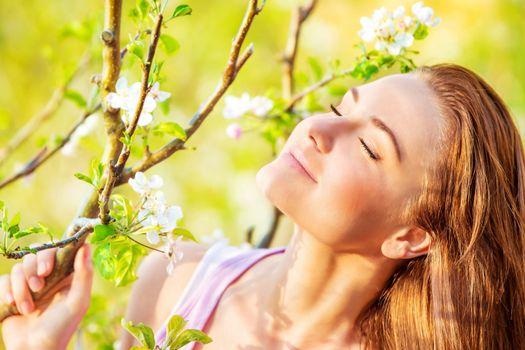 Calm woman enjoying nature