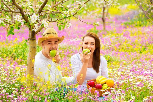 Beautiful couple having picnic