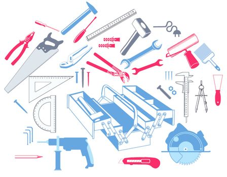 Hand tools with toolbox