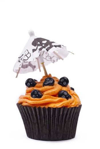 image of a cupcake with skull and canopy