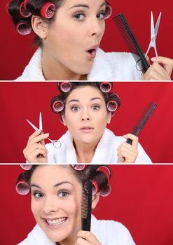 Brunette styling hair