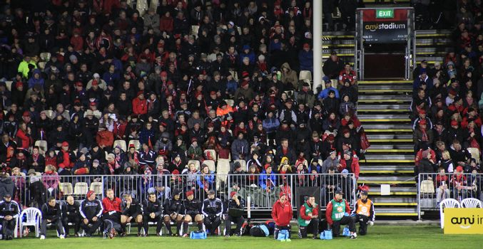 CHRISTCHURCH-April 20: Spectators at the Super Rugby  match between Canterbury Crusaders and Otago Highlanders held at the AMI Rugby Stadium in Christchurch, New Zealand on Saturday April 20, 2013.