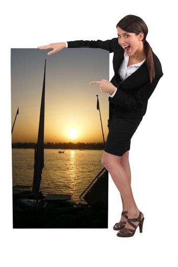 travel agent pointing