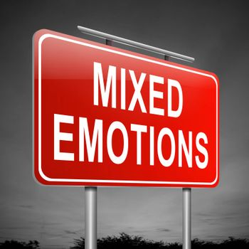 Illustration depicting a sign with a mixed emotions concept.