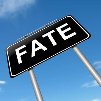 Illustration depicting a sign with a fate concept.