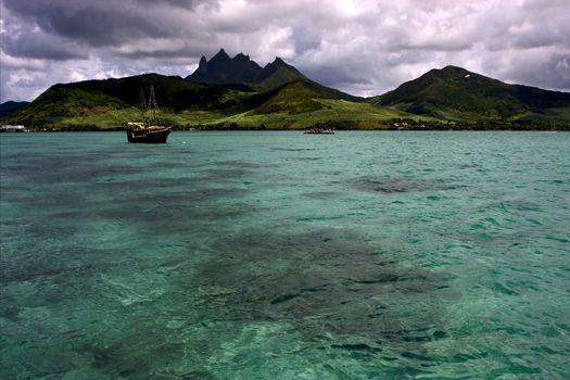 tropical lagoon hill navigable  and coastline in Deer Island