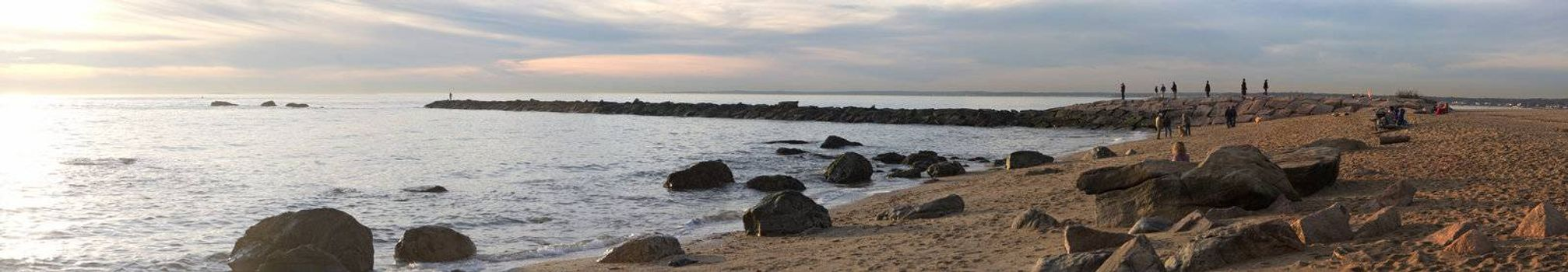 The Connecticut shoreline overlooking the Long Island Sound in Hammonasset State Park.