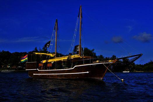 pirate boat  and coastline in mauritius