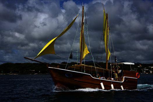 tropical lagoon  pirate boat  and coastline