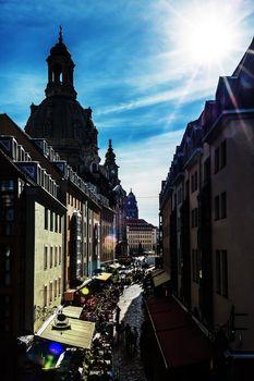 Narrow street in Dresden