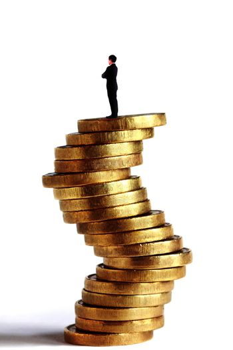 Man on uncertainty coin shape