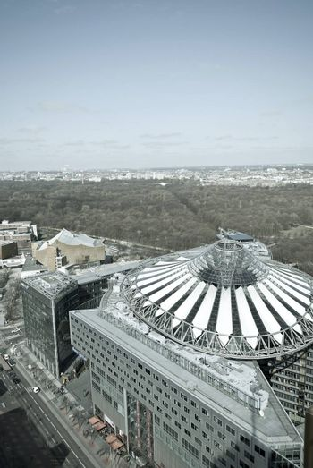 View of the modern city Berlin, Sony center, Germany