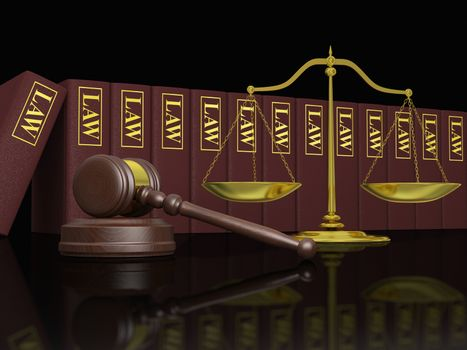 Gavel, scale and law books, symbols of law and legal education
