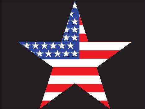 Big Star American Flag on Black background