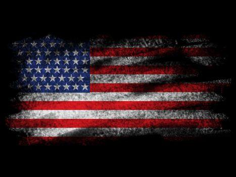 Fade American Flag on Black Blackground