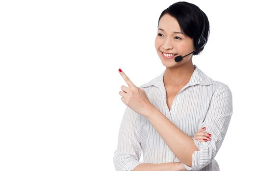 Customer support staff pointing away