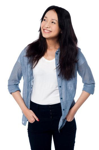 Charming asian girl, casual portrait