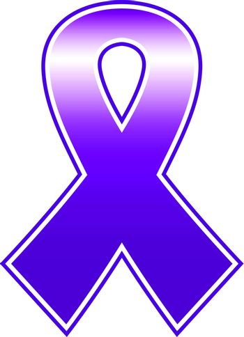 Purple vector ribbon isolated on white - breast cancer sign