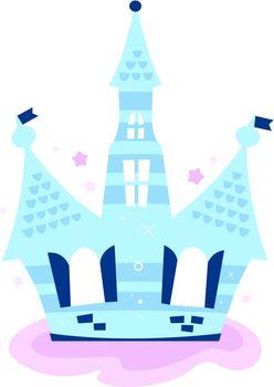 Beautiful fairy tale princess Castle on the sky. Vector
