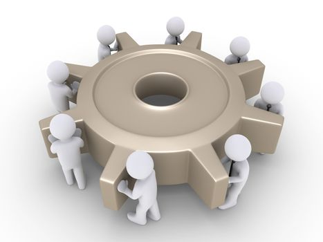 Businessmen turn cogwheel