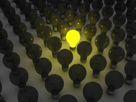 Unique light bulb amongst others