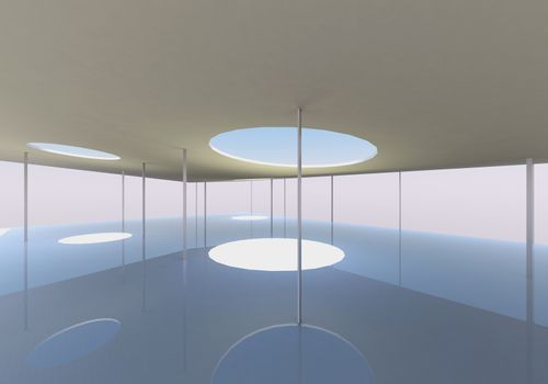 Abstract skylight and columns