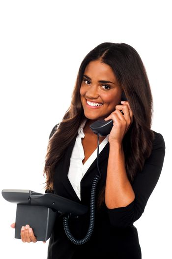 Charming businesswoman attending client's call