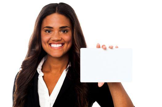 Woman showing blank rectangular billboard