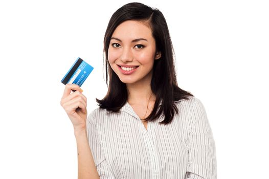 Attractive model displaying credit card