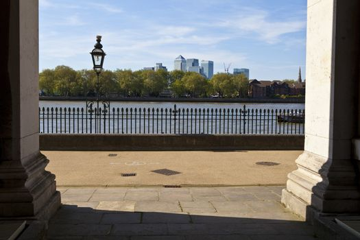 View of Docklands from the Royal Naval College in London.