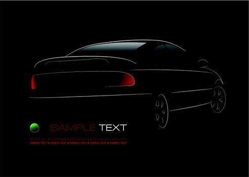 White silhouette of car sedan on black background. Vector illust