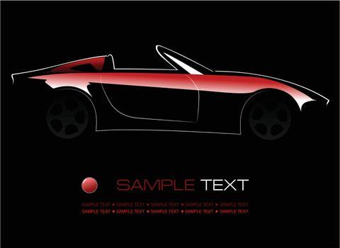 White silhouette of car on black background. Vector illustration