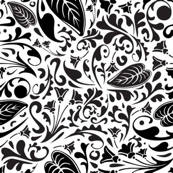 Seamless pattern made of floral ornaments in black and white